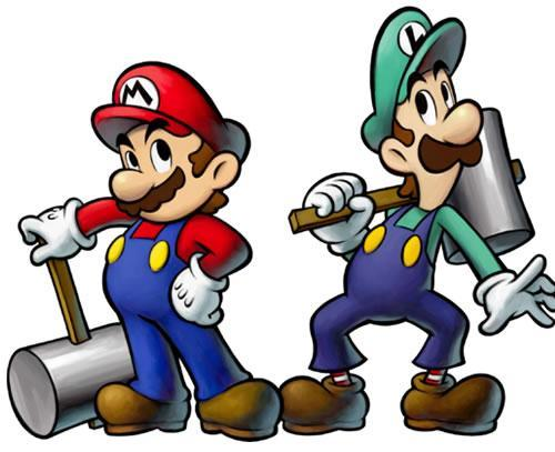 Mario and Luigi armed with hammers